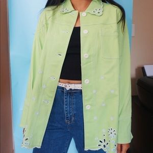Slime green embroidered jacket